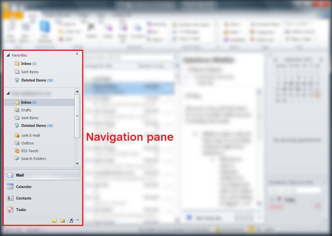 Navigation pane in Outlook 2007